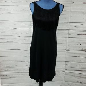 NWT Classic Black Dress with Front Fringe